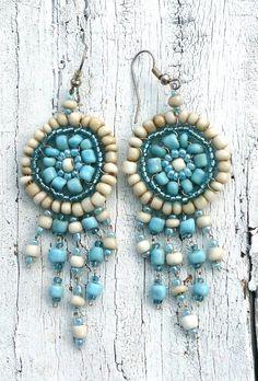 Blue Beaded Flower Chandelier Earrings Boho by SecretStashBoutique, $7.99