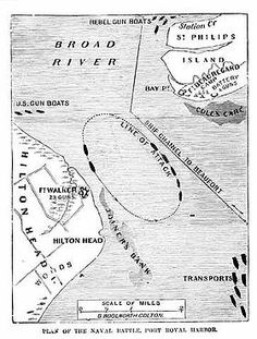 In order for the South Atlantic Blockade Squadron to effectively patrol the Confederate coastline, a Union supply base was needed. On November 7, 1861, the Union Navy attacked Fort Walker on Hilton Head Island and Fort Beauregard on Phillips Island. This image shows the circular path that these vessels followed. Their steam power enabled them out stay out of range of the Confederate guns. The bombardment that followed was heard clearly in Savannah and Fort Jackson.