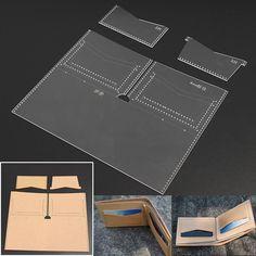 Акриловая кожа набора шаблонов для бумажник карты чехол Кожевенное Ремесло узор самодельный инструмент