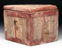 "Egypt, Dynasty, ca. 662 to 525 BCE. Stunning wooden box covered in polychrome gesso with four major panels dedicated to Osiris, Anubis (twice), and Khepri. The box was made for Lady ""Setja-imen-kewai(? Ancient Aliens, Ancient Egypt, Ancient History, Art History, Historical Artifacts, Ancient Artifacts, Cultures Du Monde, Egyptian Art, Interesting History"
