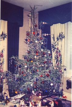 the beauty of a 1950s Christmas tree covered with tinsel ~ just like we used to have.  Thanks, Diana, for sharing.