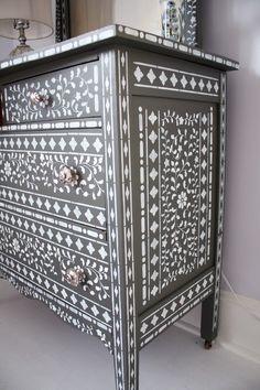 A DIY stenciled dresser using the Indian Inlay Stencil kit. http://www.cuttingedgestencils.com/indian-inlay-stencil-furniture.html