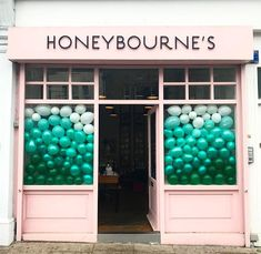 yeah i had to share this one too, because wow. dream store front display, right? i might be terrified of balloons but i sure like looking at em. Window Display Retail, Window Display Design, Store Front Windows, Retail Windows, Boutique Store Front, Balloon Shop, Shop Fronts, Store Displays, Retail Displays