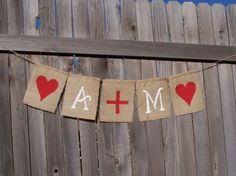 DIY stenciled burlap banner flags.  How much does burlap even cost?  Pick colors, paint an abstract pattern... or maybe stripes... on the whole fabric before cutting into flags.