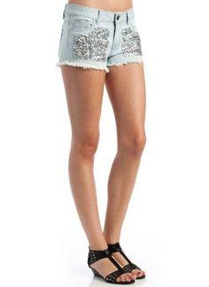 Sequin Cut-Off Denim Shorts Chiqle. $25.30