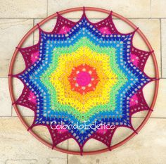 This pattern is for a colorful doily made with wool yarn, for hook 5 mm. About 24 in diameter. Instructions easy to understand. This pattern is Crochet Wool, Crochet Art, Love Crochet, Crochet Crafts, Crochet Stitches, Crochet Projects, Wool Yarn, Crochet Mandala Pattern, Crochet Patterns