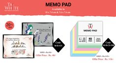 Tajwhite Memo Pad Available in Big Size with Single Line and Unruled Sheets and with 20% Off.