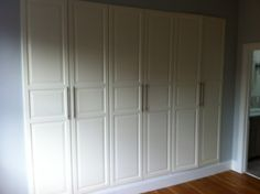 IKEA Hackers: Pax Built-Ins (The Tall Doors!) custom-look built in wardrobe Pax Wardrobe, Ikea Tyssedal, Home, Built Ins, Ikea Closet Organizer, Ikea, Cheap Closet, Build A Closet, Trendy Bedroom