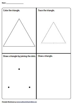 4-in-1 Triangle Activity Number Words Worksheets, Shape Worksheets For Preschool, Geometry Worksheets, Shapes Worksheets, Kindergarten Activities, Activities For Kids, Introduction To Geometry, Triangle Worksheet, Tracing Shapes