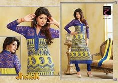 Beautifully designed cotton Straight cut Salwar Suit Yellow and Blue with beautiful embroidery work done and Netted Yolk. Comes along with Matching Cotton Bottom and Chiffon Duppatta.