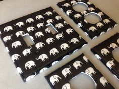 Black and white elephants double light by COUTURELIGHTPLATES, $16.50 bedroom decor, bathroom decor , shabby chic, teen room decor