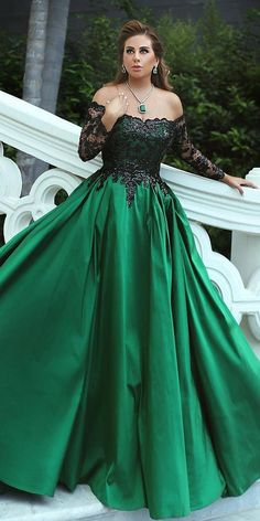 Dark Romance: 18 Gothic Wedding Dresses ❤ gothic wedding dresses a line off the shoulder with long sleeves green colored walid shehab hautecouture ❤ Full gallery: https://weddingdressesguide.com/gothic-wedding-dresses/ #bride #wedding #bridalgown #coloredweddingdress #gothicwedding