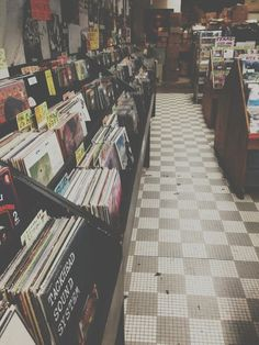 Vinyl records in a record store