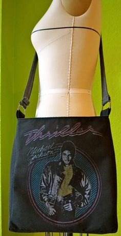 Michael Jackson Thriller Bag Upcycled T-shirt Crossbody Bag