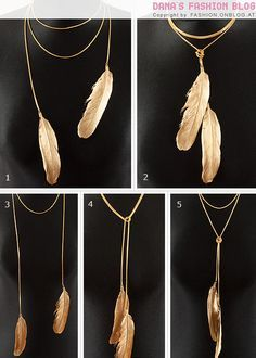 DIY Feather necklace. Love this because you can wear it so many different ways.