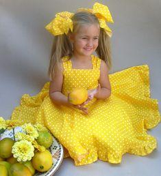 Yellow polka dot dress, Cute girls dress, Toddler twirl dress, Girls party dress, Little girl sun dr Cute Girl Dresses, Girls Party Dress, Birthday Dresses, Baby Dress, Dot Dress, Dress Red, Polka Dot Summer Dresses, Yellow Dress Summer, Below The Knee Dresses