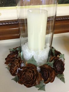 Rose pinecone candle ring by Sherie Tillman