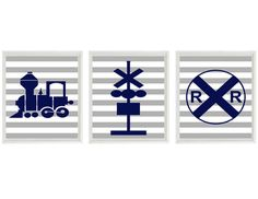 Train Art Print Set  Railroad Sign Boy Nursery by RizzleandRugee, $42.00
