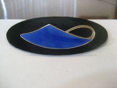 Modernist Sterling Blue Enamel Goose Pin Brooch, Aksel Holmsen, Norway, c1940