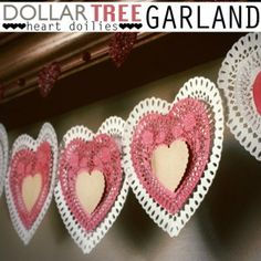 dollar tree heart garland for Valentine's Day Valentine Day Love, Valentine Day Crafts, Holiday Crafts, Holiday Fun, Valentine Ideas, Valentine Wishes, Holiday Ideas, Doily Garland, Heart Garland