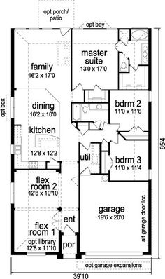 A compact, inexpensive to build plan offers flexibility as your family's needs change. front 2 flex rooms can be a formal living & dining or optional lib...