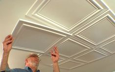 Embossed polystryrene foam ceiling tiles are easy to install while adding interest and elegance to a room. Embossed polystryrene foam ceiling tiles are easy to install while adding interest and elegance to a room. Basement Remodeling, Basement Ideas, Kitchen Remodeling, Basement Makeover, Remodeling Ideas, Ceiling Design, Home Renovation, Home Projects, Diy Design