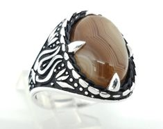 Ottoman Style Turkish Handmade 925 Sterling Silver Brown & White Stripe Oval Agate Men's Tulip Ring Size US 11