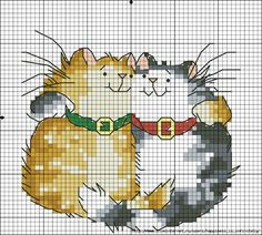 Cross-stitch Kitty Cuddles... no color chart available, just use pattern chart as your color guide.. or choose your own colors...