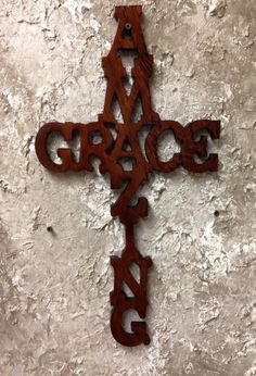 CCW1 Handcrafted Real Cypress Wood Amazing Grace Cross Wall Hang Home Decor by CajunCountryCreat on Etsy