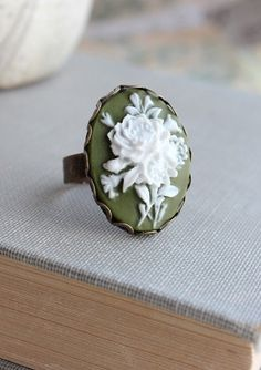 Cameo Ring, Vintage Style Adjustable Ring