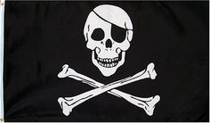 Pirate (JOLLY ROGER WITH PATCH) Flag - 3 foot by 5 foot Polyester by Other Flags. $1.00. 3 foot by 5 foot Polyester Flag with sharp vivid colors. Comes with 2 Metal Gromments for easy mounting to a flag pole (or wall) & a Canvas Hem for long lasting strength. For outdoor or indoor use.