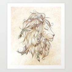 Poetic Lion  Art Print by LouJah - $18.72