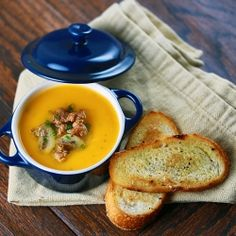 Tuscan inspired butternut squash soup recipe with Italian sausage and rosemary.