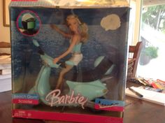 Barbie beach glam scooter Vespa NIB 2006 with doll helmet complete mattel