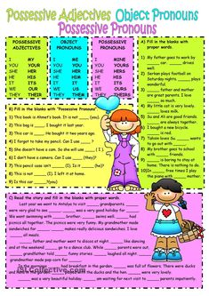 Subject&object pronouns-Possessive adjectives worksheet - Free ESL printable worksheets made by teachers