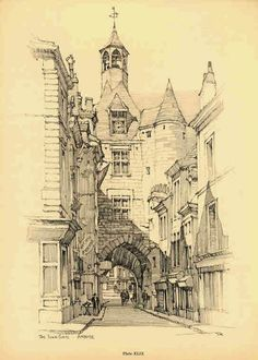 Samuel Chamberlain - DARF - Plate - The town gate Amboise - 1928 Watercolor Architecture, Architecture Drawings, Historical Architecture, Architecture Details, Building Drawing, Building Sketch, Art Sketches, Art Drawings, Environment Sketch