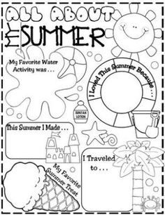 All about summer sheet that could be a brainstorming activity for writing (first week of school) by carrie