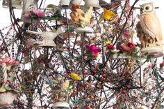 bird flower bead tree sculpture