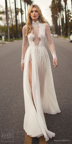 MUSE by BERTA Spring 2019 Wedding Dresses - City of Angels Bridal Collection | Long sleeve wedding dress | Unique vintage bridal gown | A line boho bridal dress | #weddingdress #weddingdresses #bridalgown #bridal #bridalgowns #weddinggown #bridetobe #wedd