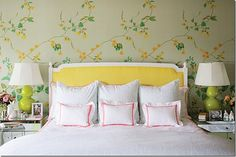 Great DIY headboard ideas can completely transform the look and feel of your bedroom! If you don't believe us, just check out the 79 creative designs, small or big, unique features for decor Yellow Headboard, Yellow Bedding, Yellow Bedrooms, Painted Headboard, Kid Bedrooms, Painted Walls, Home Bedroom, Master Bedroom, Bedroom Decor