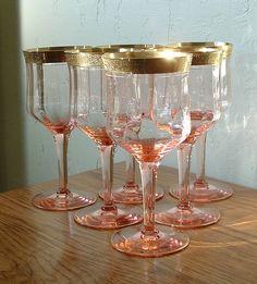 Vintage Tiffin Pink Wine Glasses Set of 6 Gold Rim Valencia Optic Water Goblets