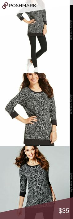 NWT STYLE&CO. SWEATSHIRT TUNIC NWT Style&co. Animal-Print Sweatshirt Tunic,  pair with lounge pants or leggings for the perfect look Color: Black / Grey  Size : XLARGE  Materials : 60% COTTON  40%POLYESTER   * Rayon  * Machine Washable  * Imported. * Scoop neckline  * Pullover style  * Long Striped sleeves * allover Animal-Print  * Easy fit * Hits at upper thigh * Generous sizing if in-between sizes , consider sizing down. Style & Co Sweaters Crew & Scoop Necks