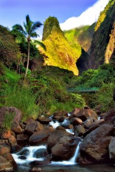 'Iao Valley State Park:  'Iao Needle, Maui, Hawaii .. has it all:  jagged peak, waterfall, rapids, rocks, trees. .. i've hiked the environs 3 times, and plan to do so again <3