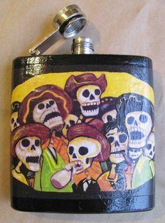 La Fiesta  FLASK by FlowerOfTheDead on Etsy, $16.75 Mexican Stuff, Flasks, Blame, Skulls, Mexico, Heaven, Diy Projects, Perfume, Craft Ideas