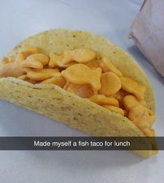 Goldfish Taco. Actually this would be the only kind of fish taco that I'd eat....
