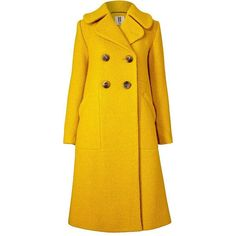 Textured Wool Harry Coat in Yellow Outerwear (€255) ❤ liked on Polyvore featuring outerwear, coats, woolen coat, wool coat, yellow wool coats, orla kiely and yellow coat