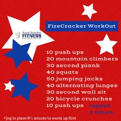 Firecracker Workout Lunges, Squats, Online Workout Videos, Jogging In Place, Fitness Inspiration, Workout Inspiration, Wall Sits, Bicycle Crunches, Tuesday Motivation