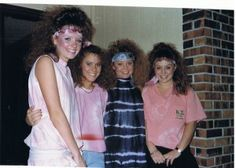 I do not know these girls, but they provide evidence of the short-lived forehead band.  Mine was baby blue and gold.  *shudder*