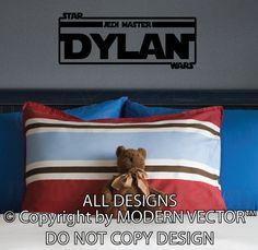 STAR WARS Personalized Name Custom Vinyl Wall Decal Boys Room Jedi Master