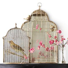 Vintage style Birdcage Mirror:  We all know mirrors are great for making a space seem larger, but sometimes you don't want it looking too shiny and obvious. An age-tarnished mirror obstructed by a wire frame, though, will still bounce light around without standing out too much.